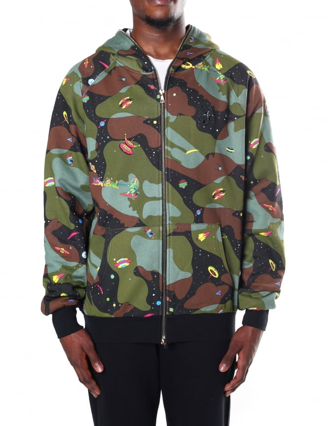 Billionaire Boys Club Men's All Over Space Camo Zip Through Hoody