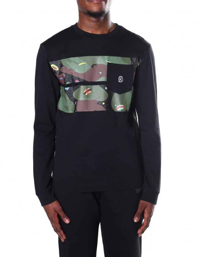 Billionaire Boys Club Men's Space Camo Stripe Long Sleeve Tee
