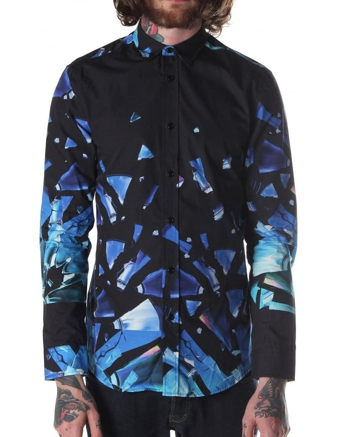 Blood Brother Disc Print Men's Shirt Black