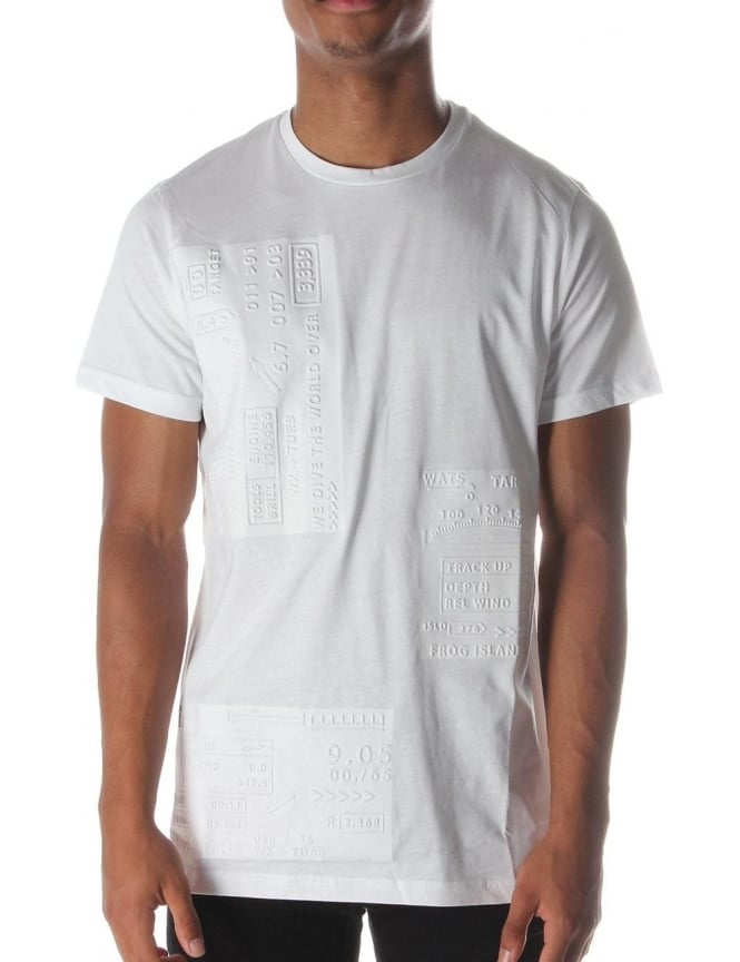 Blood Brother Vice Men's Embossed Crew Neck T-Shirt White