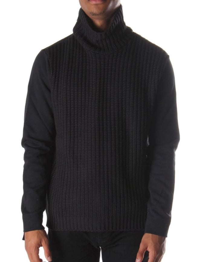 Blood Brother Warfare Men's Roll Neck Knit Black