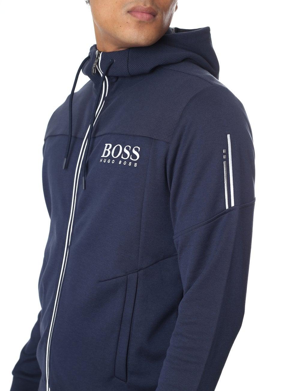fc5f5bd6838 Boss Green Men s Saggy Zip Through Hooded Sweat Top