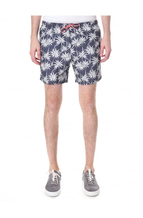 Men's Palm Print Drawstring Swim Shorts
