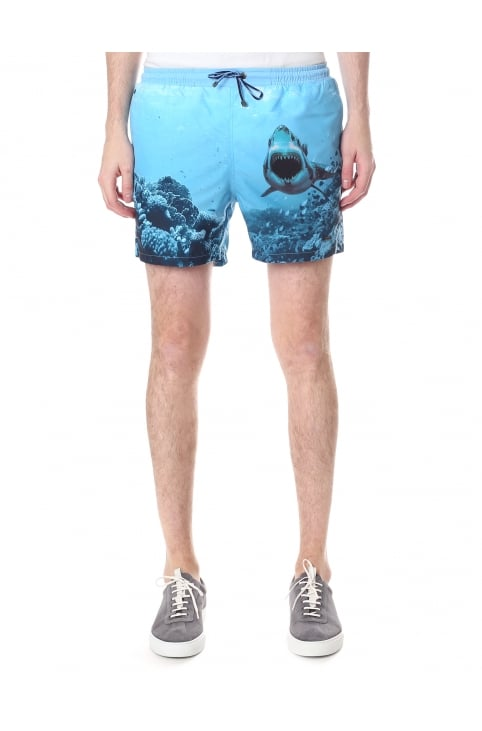 Men's Quick Dry Shark Print Swim Shorts