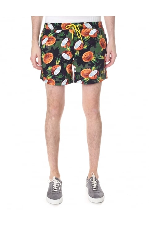 Men's Quick-Dry Tropical Fruit Print Swim Shorts