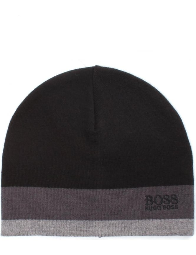 Boss Green Embroidered Logo Ciny Men's Beanie Hat Black