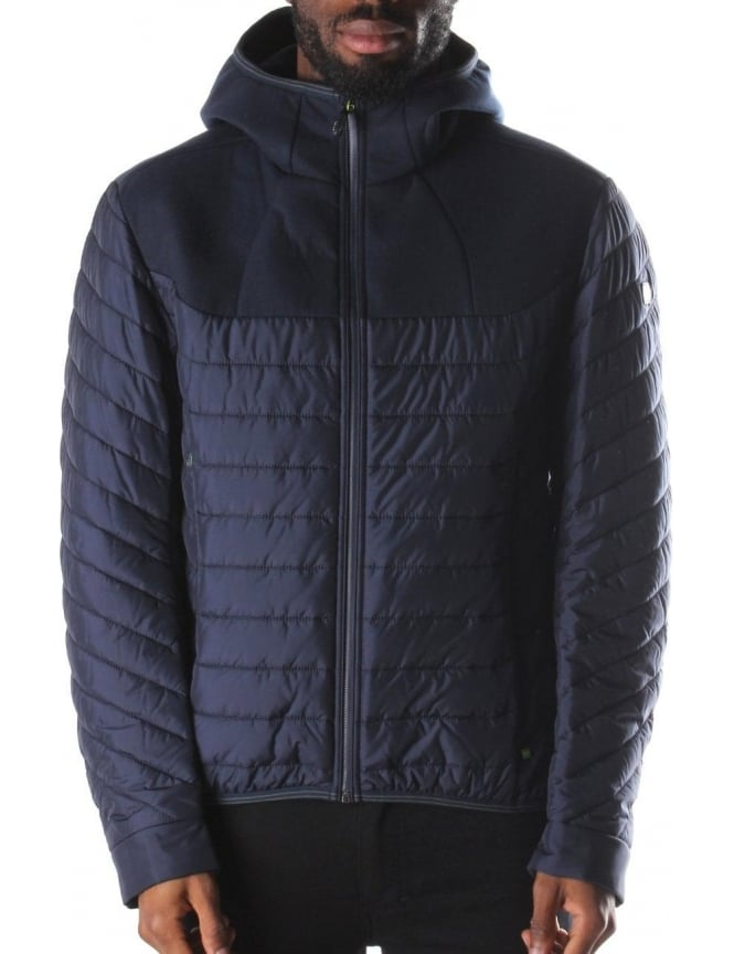 Boss Green Jarmin Men's Quilted Hooded Jacket Navy