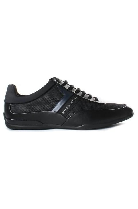 Men's Space Lowp Nyme Material Mix Leather Trainer Black