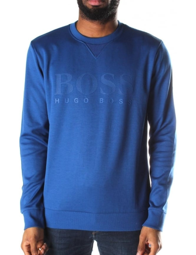 Boss Green Salbo Men's Logo Print Crew Neck Sweat Top