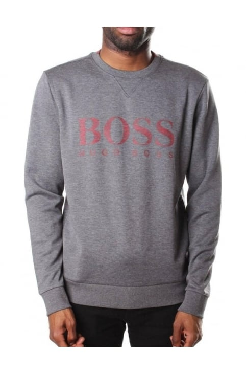 Salbo Men's Slim Fit Crew Neck Sweat Top Mid Grey