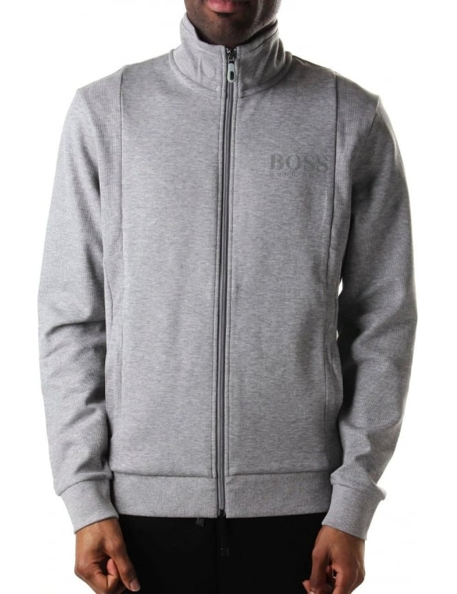 Boss Green Skaz Men's Zip Through Sweat Top Light Grey