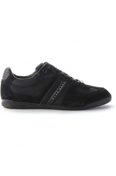 Suede Detail Men's Lace Up Trainer Open Black