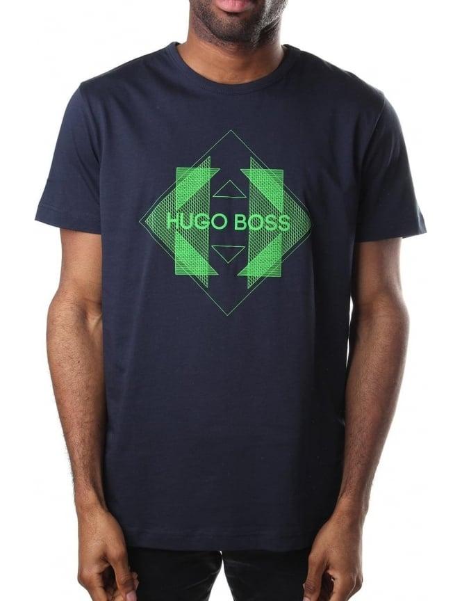 1aae5634b0 Boss Green Tee 2 Logo Print Men's Crew Neck T-Shirt Navy