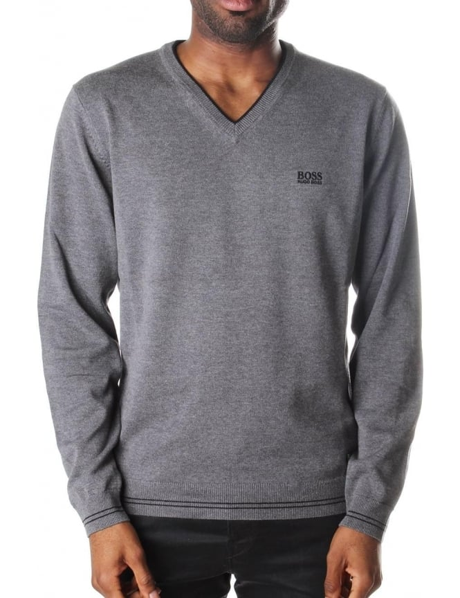 Boss Green V Neck Men's Pullover Knit Mid Grey