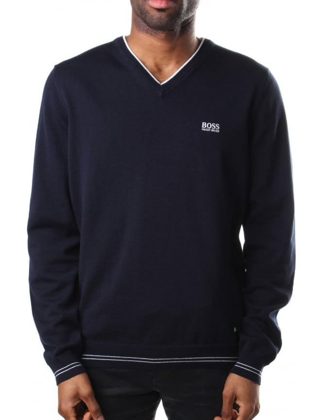 Boss Green Vime V Neck Men's Pullover Knit Navy