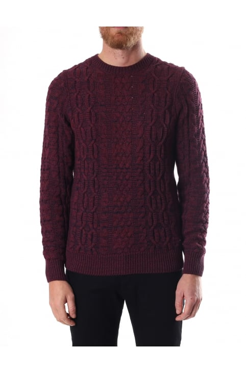 Kaasly Men's Crew Neck Cable Knit