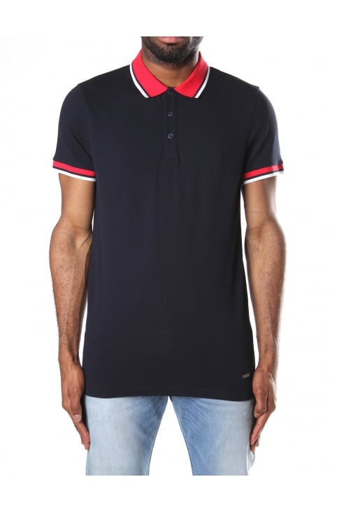Men's Pay Slim Fit Short Sleeve Polo Top Dark Blue