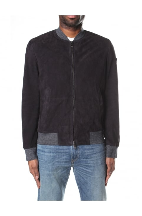 Men's Zip Through Suede Bomber Jacket