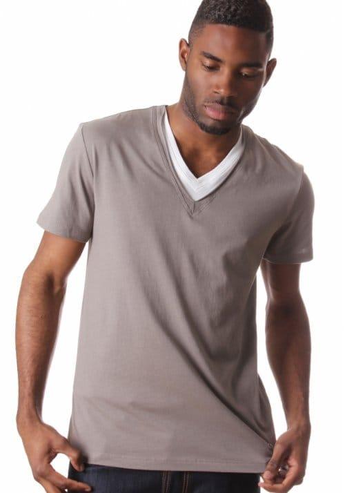 Boss Orange Talis V Neck Layer Men 39 S T Shirt Fawn