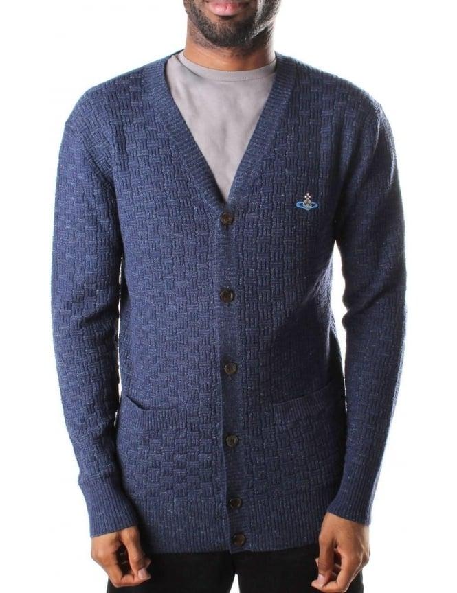 8638361a741 Vivienne Westwood Button Through Men's Textured Cardigan Navy