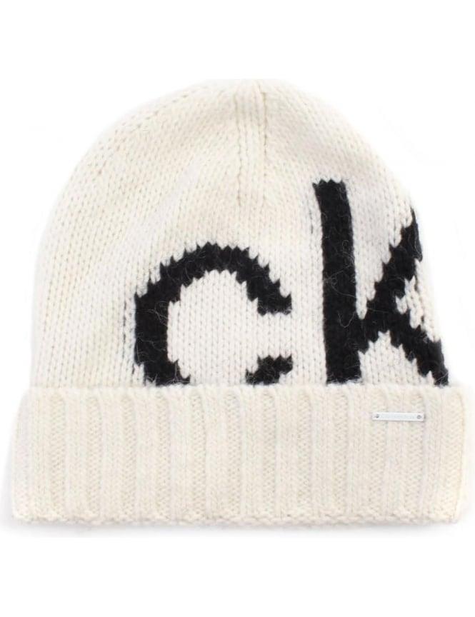 Calvin Klein Magda Women s Logo Knitted Hat Black d1c88ad1e2