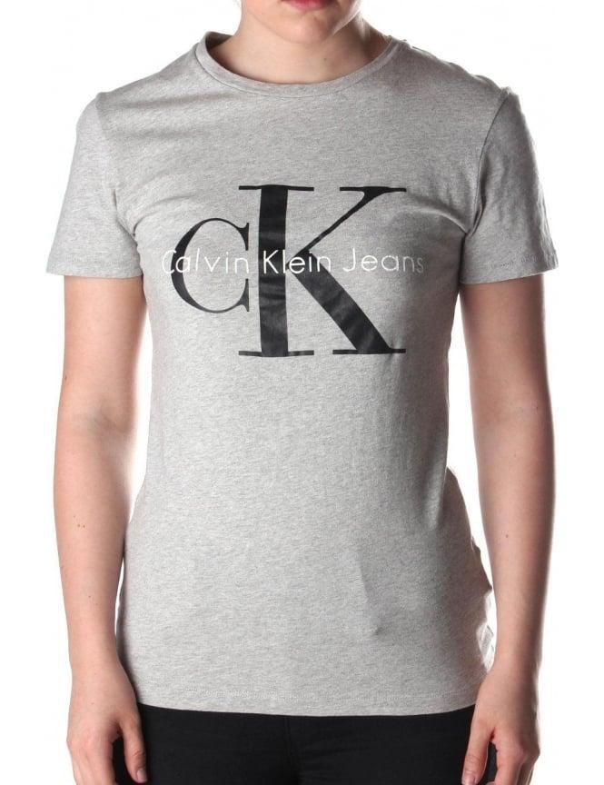 011ba2d387d Calvin Klein Shrunken Women s Logo Print Crew Neck T-Shirt Light ...