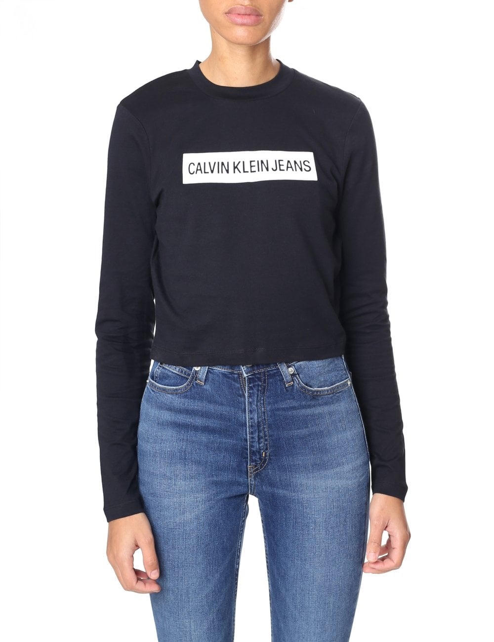 0efdb358 Calvin Klein Women's Institutional Box Cropped Fit Top