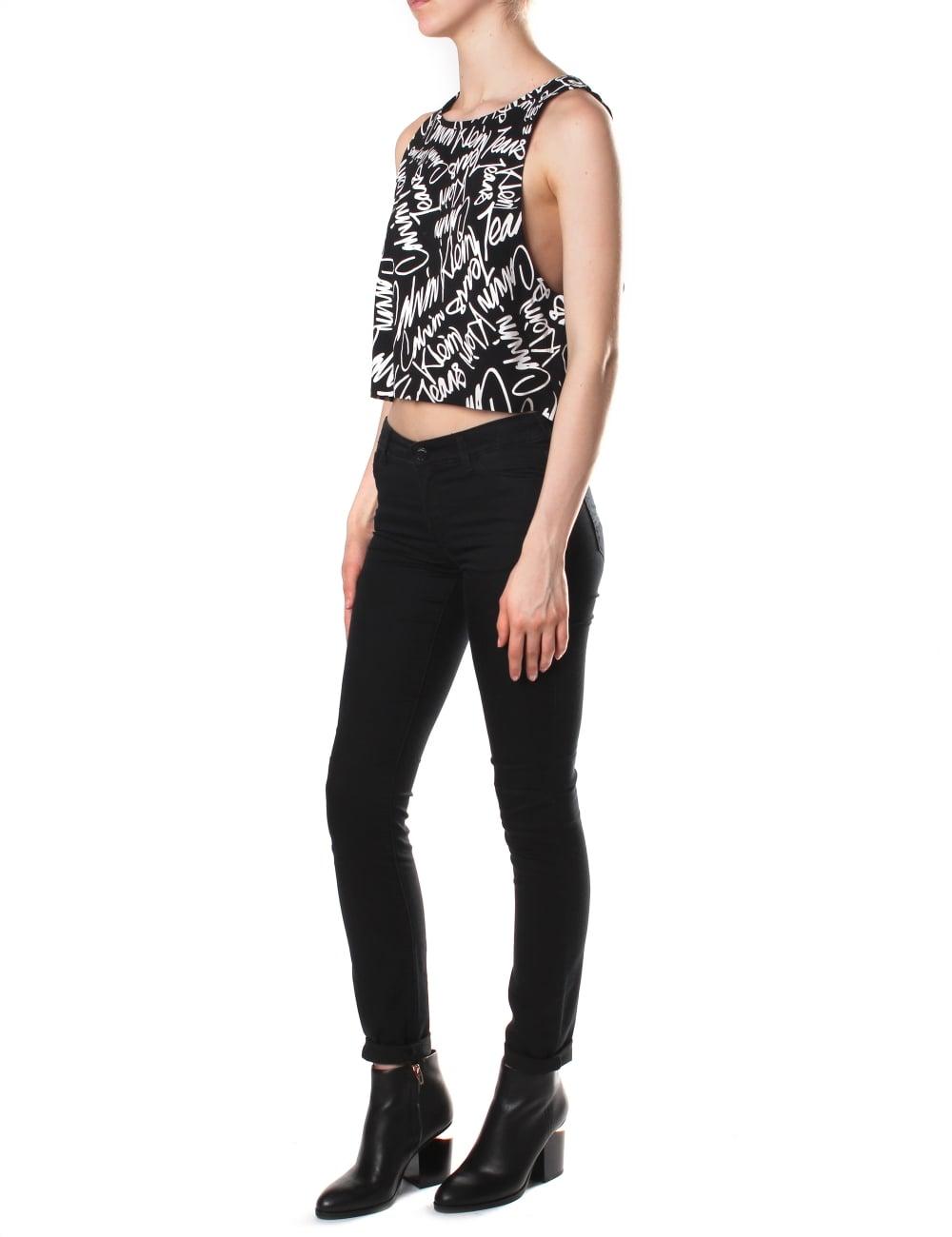 a798196f37846 Calvin Klein Women s Tendel 3 Cropped Graffiti Top