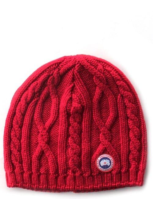 canada goose merino wool beanie red