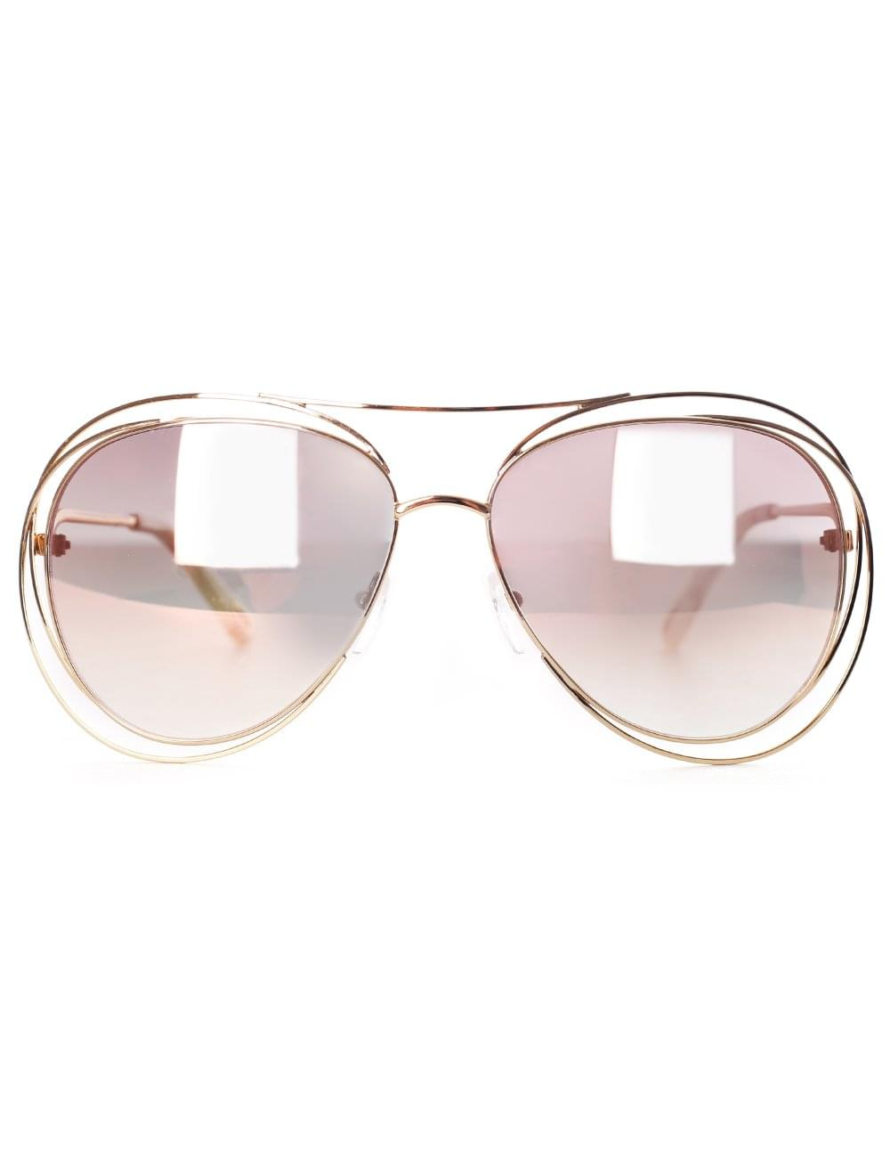 6e5f477daf Chloe Women s Carlina Aviator Sunglasses gold Marble Revo Rose Peach