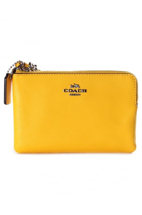 Textured Leather Small Women's Wristlet Yellow