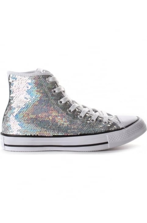 Women's Chuck Taylor All Star Sequin Sneaker Silver/White