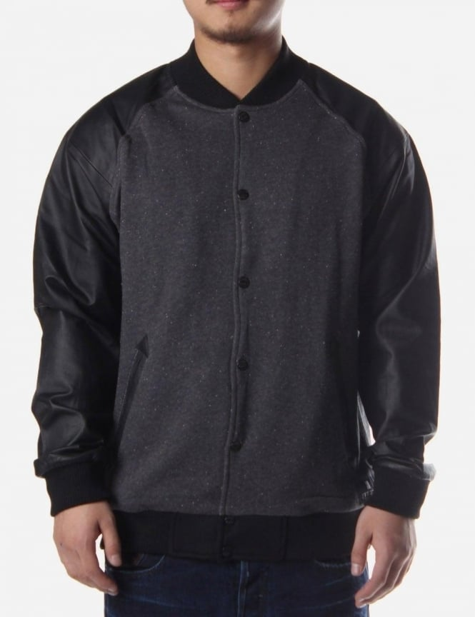 Button Through Men's Baseball Jacket Black