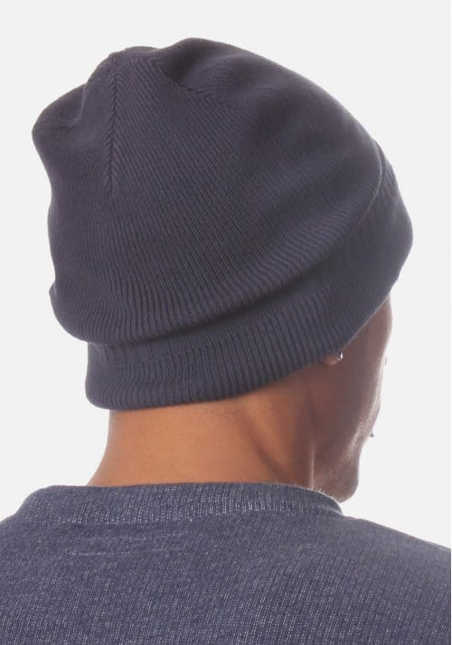 7182edc4a3b6e C-Apri Men s Small Badge Knitted Beanie Hat Navy