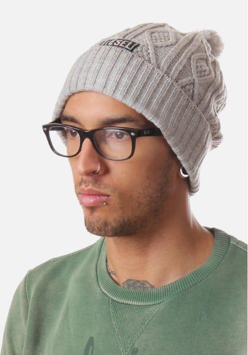 063fa0628 Diesel Die Klairo Men's knitted Beanie Hat Grey