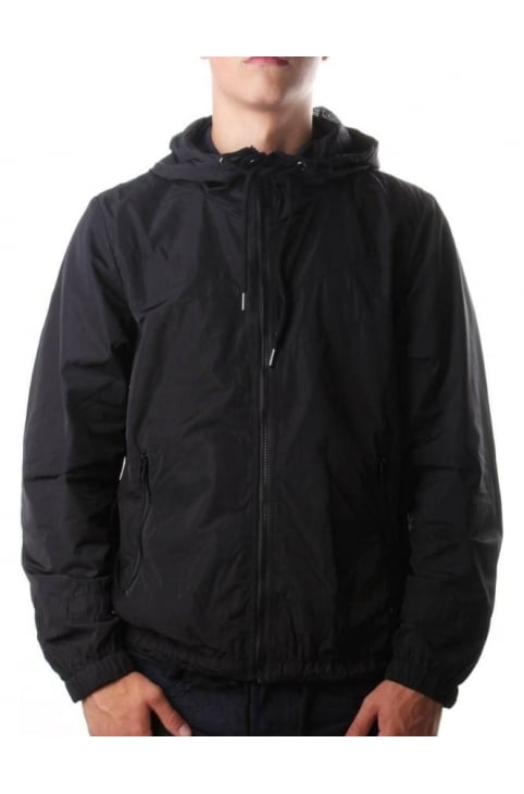J-Azzerad Men's Zip Through Nylon Jacket Black