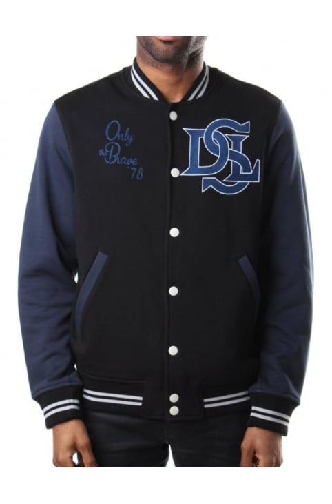 J-Who Button Through Men's Varsity Jacket Black