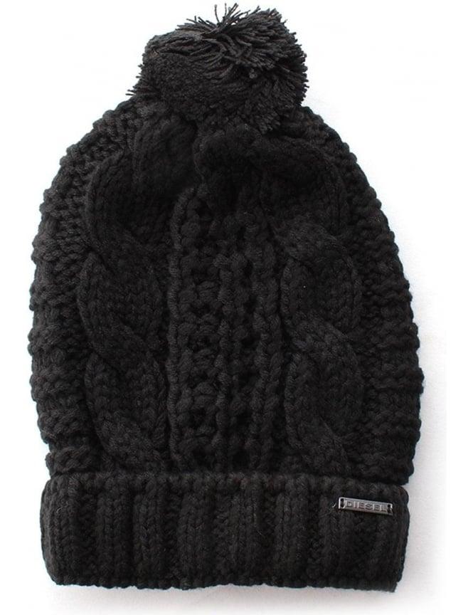 Diesel K-arly Men s Cable Knit Bobble Hat Black 62d116b1a63