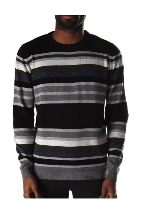 K-Calib-B Men's Crew Neck Pullover Knit Black