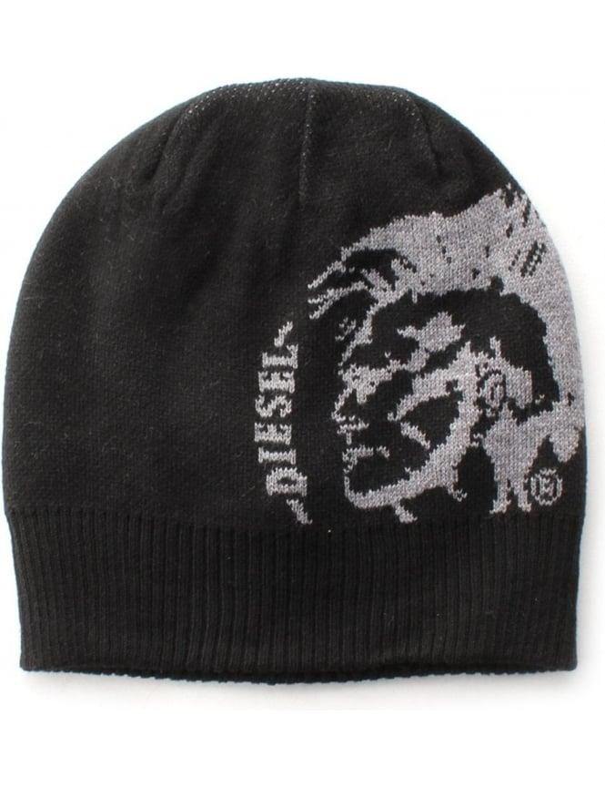 Diesel K-Grafis Men s Logo Beanie Hat Black c5ba668d1b3