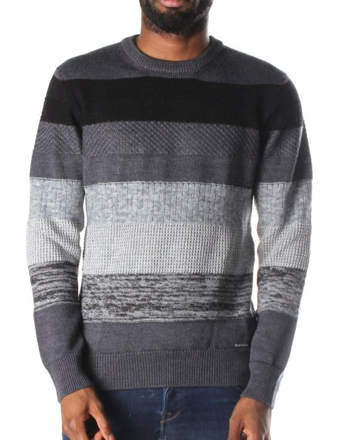 Diesel K-Mayall Men's Striped Pullover Knit Grey