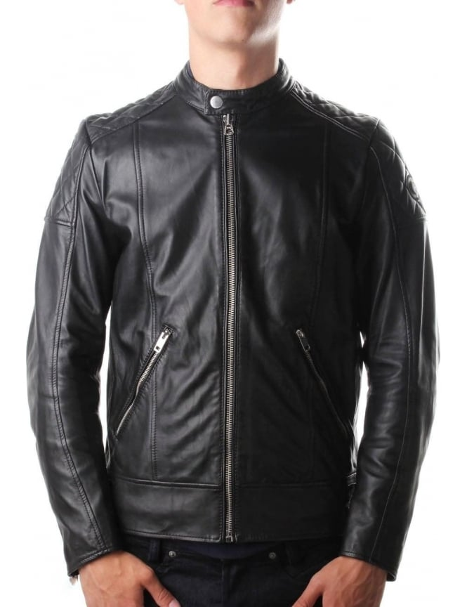 Diesel L-Marton Men's Leather Biker Jacket Black