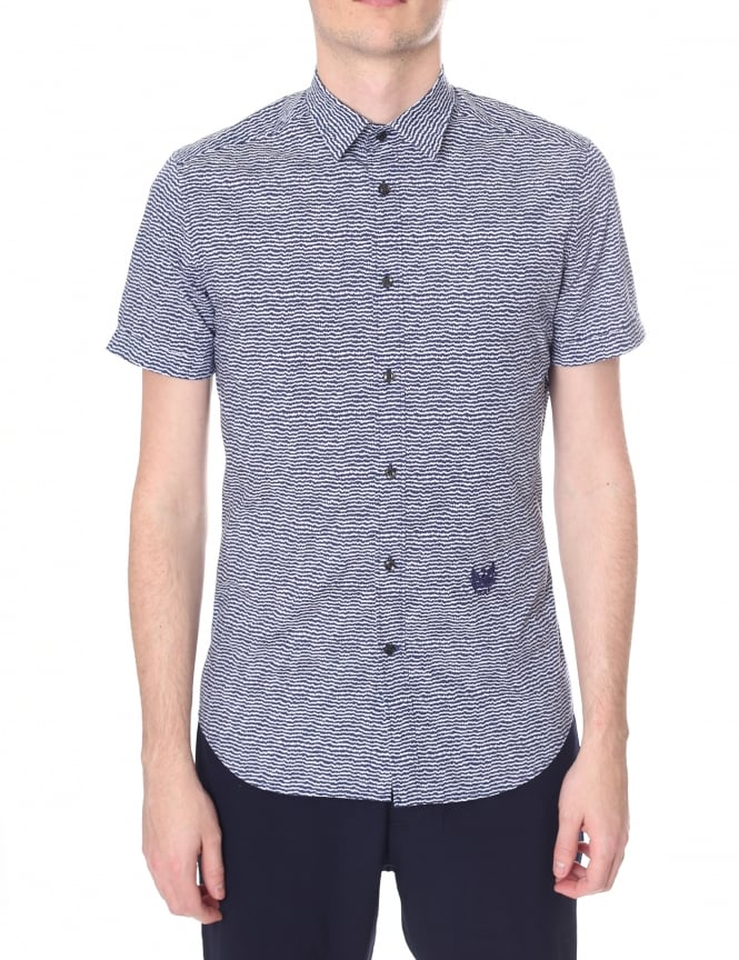 Diesel Men' S-Venety SQUIGGLE PATTERN SHORT SLEEVE SHIRT