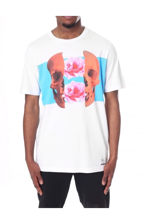 Men's T-Just-SW Skull & Flower Split Tee
