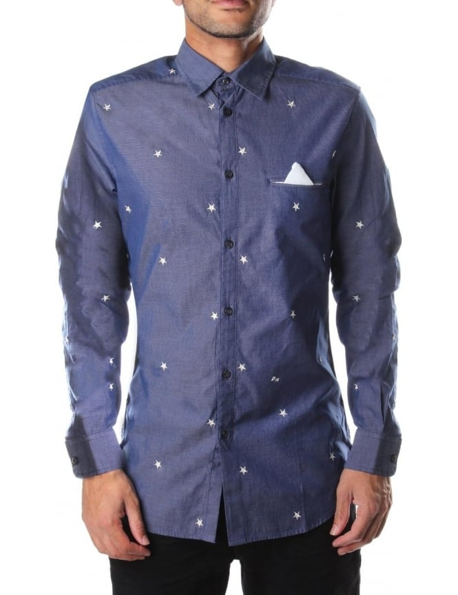 Diesel S-Allembr Men's Embroidered Star Shirt