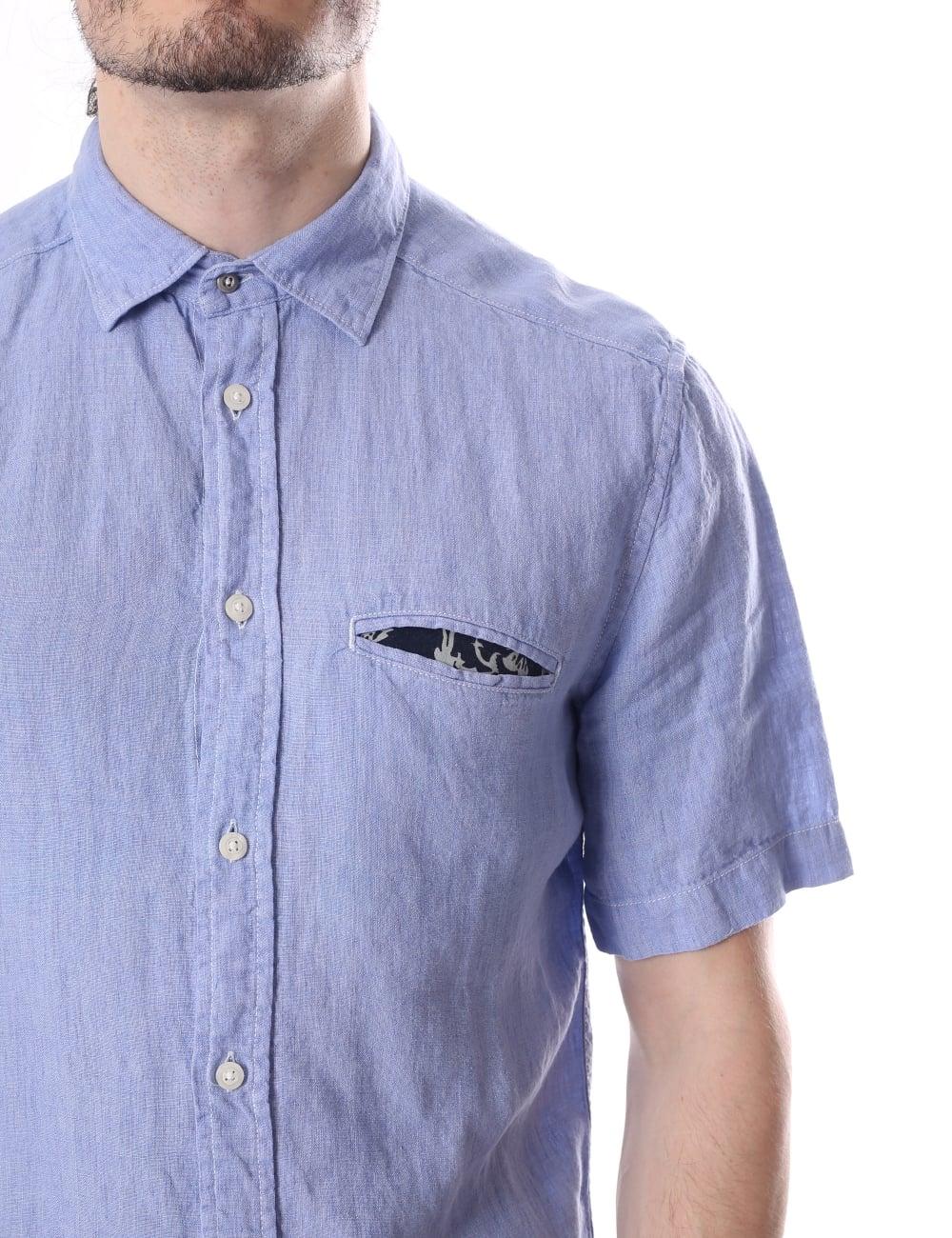 1ffa065fe07 Diesel S-Emoko Pocket Square Men s Short Sleeve Shirt Chambray