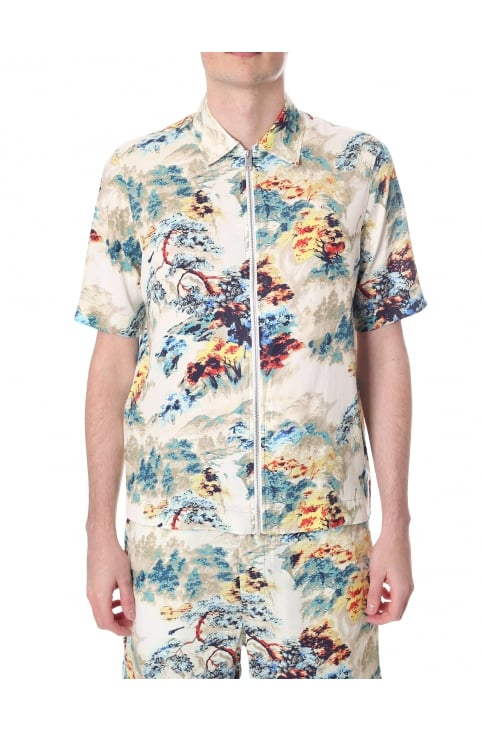 S-Lyna Men's Short Sleeve Zip Through Shirt