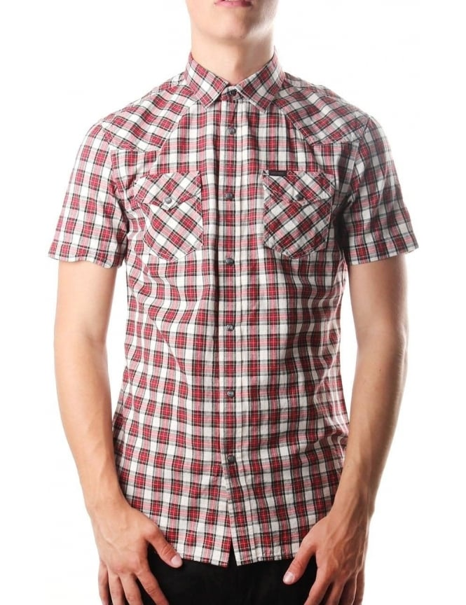Diesel S-Zule Short Sleeve Men's Checkered Shirt Red