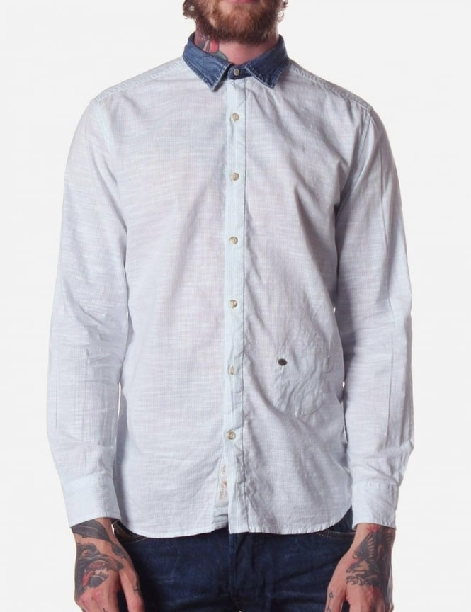 Diesel Saturno-R Men's Denim Collar Shirt Sky Blue