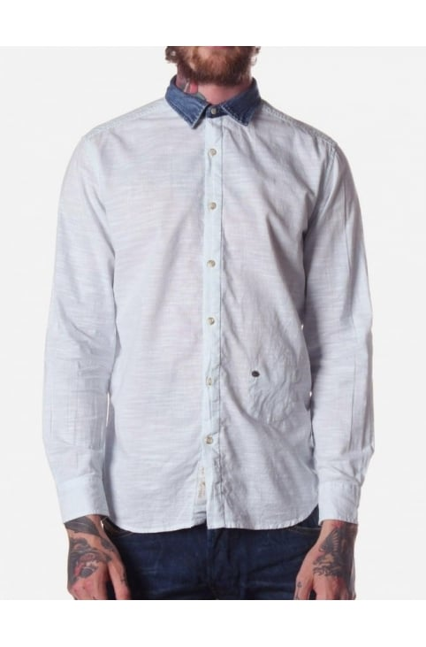 Saturno-R Men's Denim Collar Shirt Sky Blue